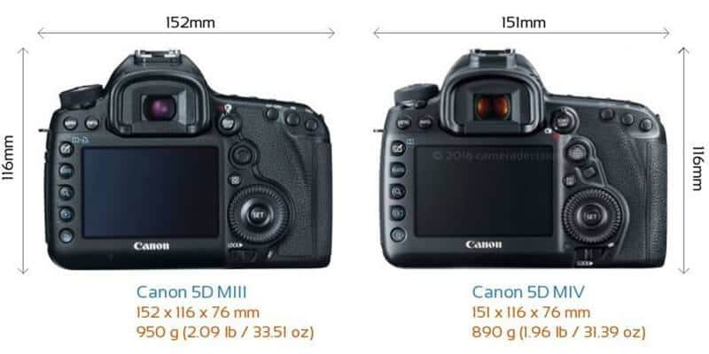 The back view size comparison of Canon 5D MIII and Canon 5D MIV