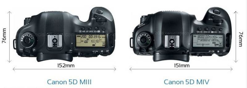 the top view comparison of Canon 5D MIII and Canon 5D MIV