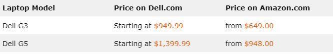 Dell G3 vs G5 - Price