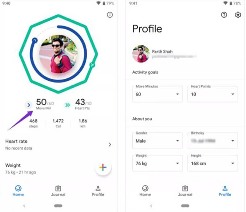 Google Fit vs Samsung Health USER INTERFACE