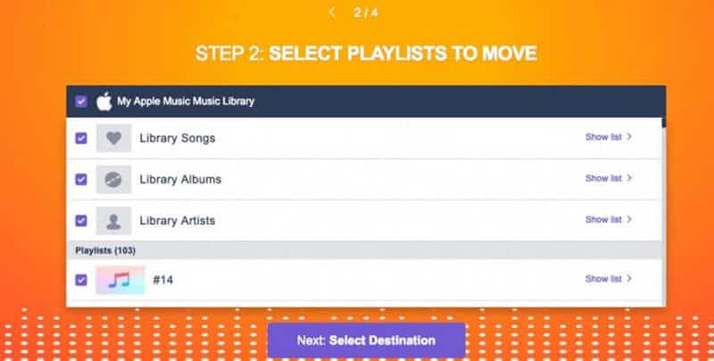 Select the playlists to move