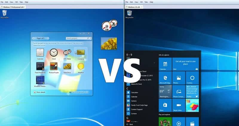 Windows 7 vs Windows 10 Difference